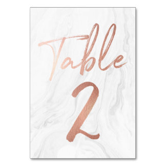 Marble and Rose Gold Script | Table Number Card 2 Table Cards