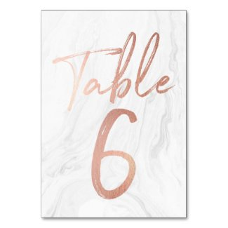 Marble and Rose Gold Script | Table Number Card 6