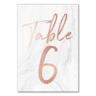 Marble and Rose Gold Script | Table Number Card 6 Table Cards