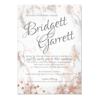 Marble and Rose Gold Sparkle Wedding Card