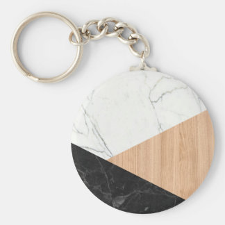 Marble and Wood Abstract Basic Round Button Keychain