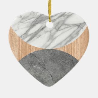 Marble and wood abstract ceramic heart ornament