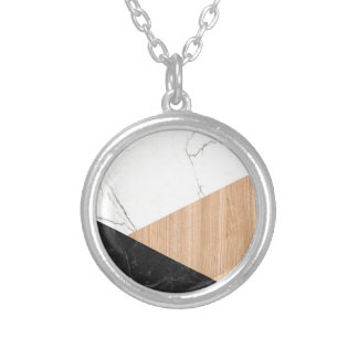 Marble and Wood Abstract Silver Plated Necklace