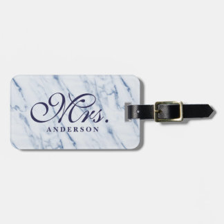 Marble background monogrammed luggage tag