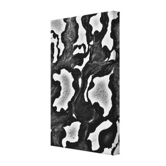 MARBLE. black and white wrapped canvas print.