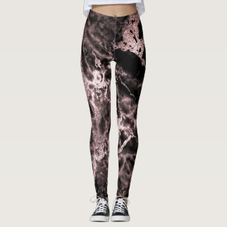 Marble Black Blush Pink Abstract Molten Night Out Leggings