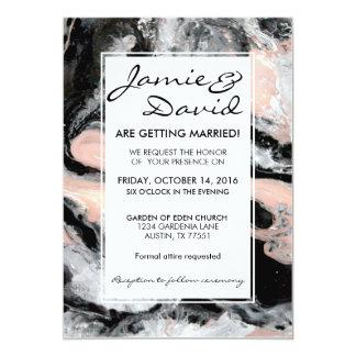 Marble Black White Blush Wedding Invitation