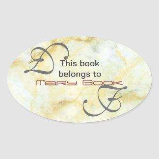 Marble Bookplate Oval Sticker