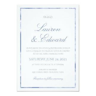 Marble Border Wedding Invitation - Cornflower Blue