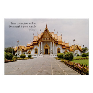 Marble Buddhist Temple of Gold with Peace Poster