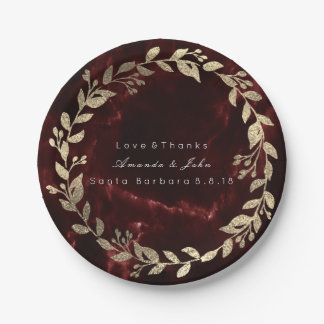 Marble Burgundy Red Gold Custom Floral Wreath Paper Plate