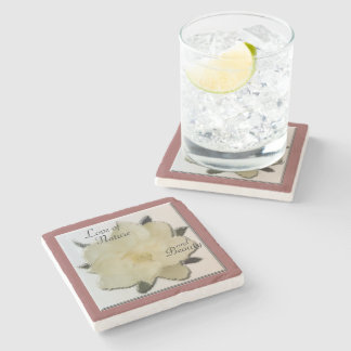 Marble Coaster - Magnolia Love of Nature & Beauty Stone Beverage Coaster
