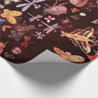 Marble Copper Meadow Butterfly Insects Burgundy Wrapping Paper