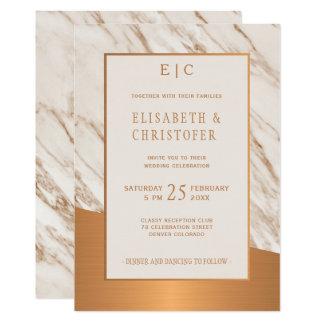 Marble copper simple elegant classy wedding invite