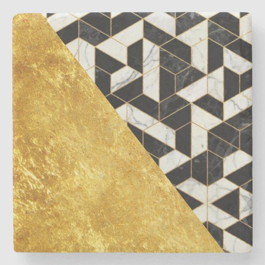 Marble Design w/ Gold + Black Marble Stone Coaster