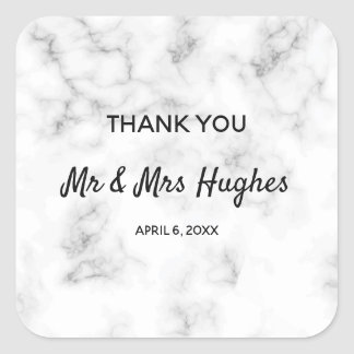 Marble elegant wedding thank you square sticker