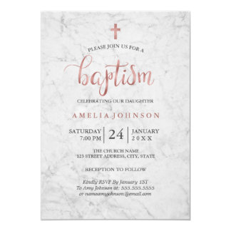 Marble Faux Rose Gold Baptism Invitation