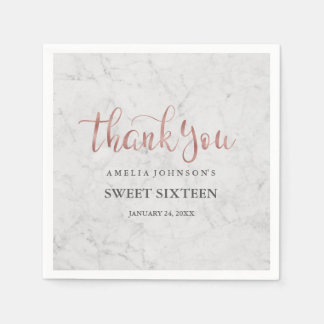 Marble Faux Rose Gold Thank You Sweet Sixteen Paper Napkin