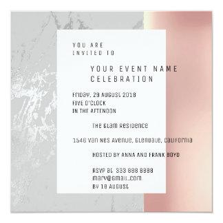 Marble Gar Silver Geometry Pink Rose Metallic VIP Card