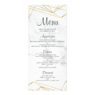 Marble Geometric Elegant Wedding Menu Card