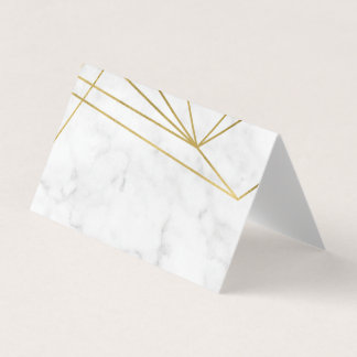Marble Geometric Elegant Wedding Place Card