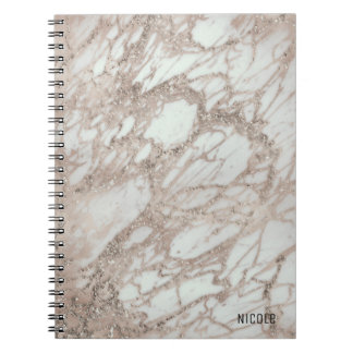 Marble Glam Rose Pink Gold Silver Designer Style Notebooks