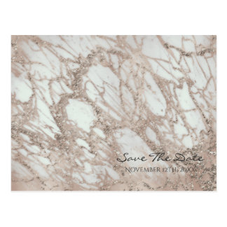 Marble Glam Rose Pink Gold Silver Save the Date Postcard