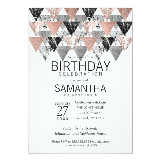 Marble Gold Silver Floral Birthday Party Invites