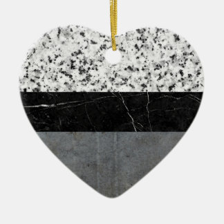 Marble, Granite, and Concrete Abstract Ceramic Heart Ornament