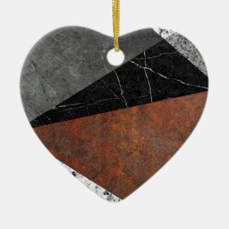 Marble, Granite, Rusted Iron Abstract Ceramic Heart Ornament