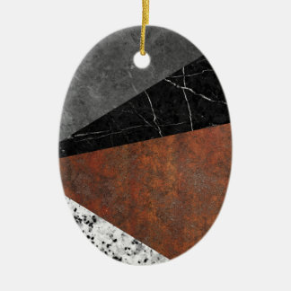 Marble, Granite, Rusted Iron Abstract Ceramic Oval Ornament
