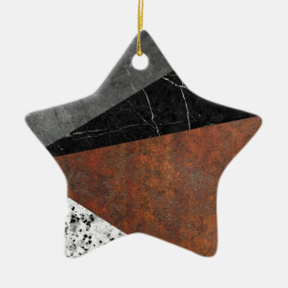 Marble, Granite, Rusted Iron Abstract Ceramic Star Ornament
