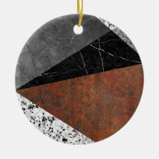 Marble, Granite, Rusted Iron Abstract Round Ceramic Ornament
