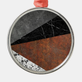 Marble, Granite, Rusted Iron Abstract Silver-Colored Round Ornament