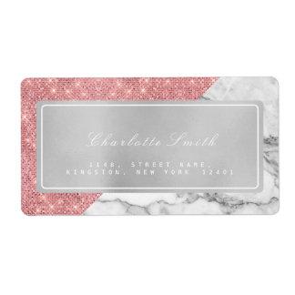 Marble Gray Pink Rose Gold Return Address Labels