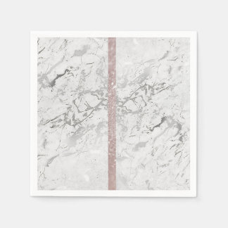 Marble Gray Silver Pink Rose Gold Glitter Paper Napkins