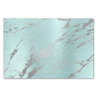Marble Gray Tiffany Aqua Blue Metallic Silver Tissue Paper