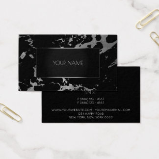 Marble Grey Black Silver Gold Abstract Graphite Business Card