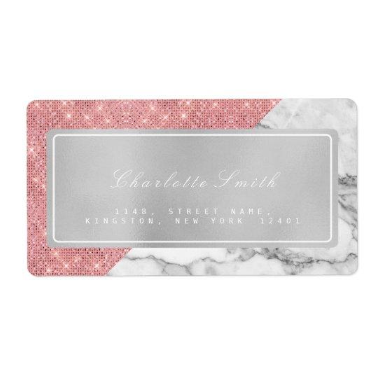 Marble Grey Pink Rose Gold Return Address Labels