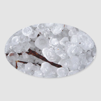 Marble Hail and Debris Oval Sticker