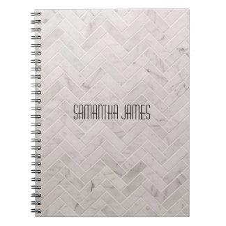 Marble herringbone tile pattern notebook