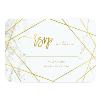 Marble Look and Faux Gold Geometric Wedding RSVP Card