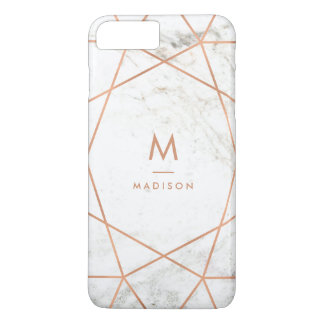 Marble Look with Faux Rose Gold Geometric Pattern Case-Mate iPhone Case