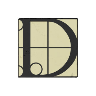 Marble Magnet Initial D Typography
