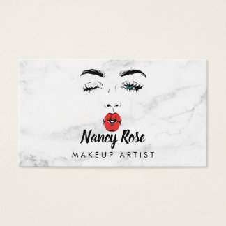 Marble Makeup Artist Business Cards