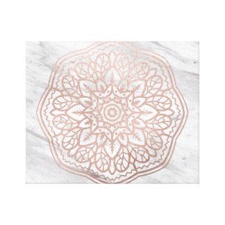 Marble mandala - geometric rose gold canvas