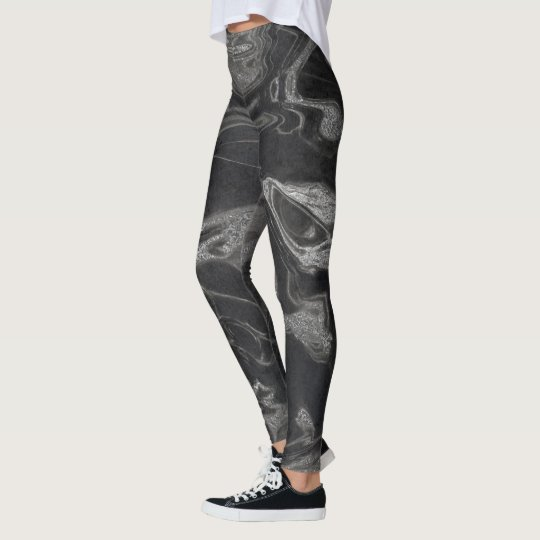 Marble Minimal Abstract Black Grey Graphite Silver Leggings