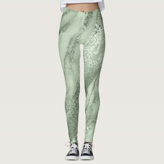 Marble Minimal Abstract Metallic Mint Green Lux Leggings
