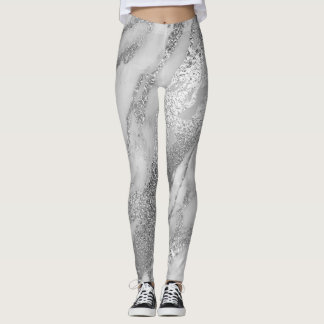Marble Minimal Abstract Metallic Silver Gray Lux Leggings