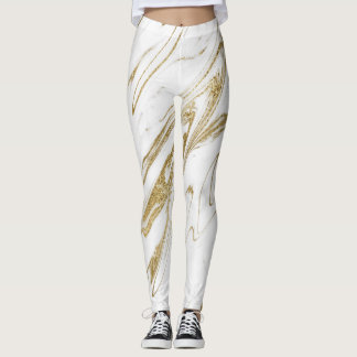 Marble Minimal Abstract White Gold Snail Leggings